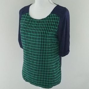The Limited • Navy & Green Print Blouse